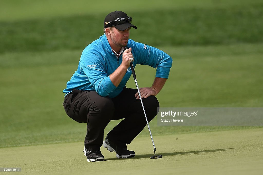 Steve Wheatcroft lines up a birdie putt on the tenth green during the first round of the Wells Fargo Championship at Quail Hollow on May 5, 2016 in Charlotte, North Carolina.