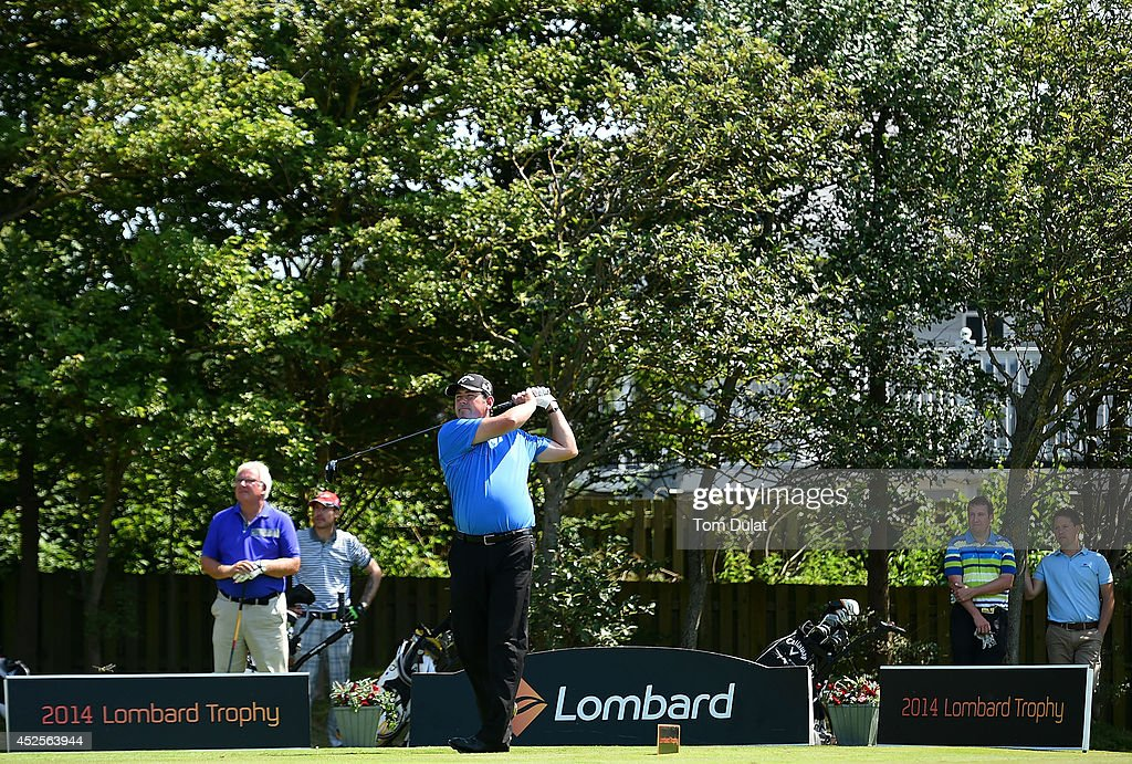 Steve White of Thurlestone Golf CLub tees off from the 1st hole during the Lombard Trophy West Regional Qualifier at Burnham and Berrow Golf Club on July 23, 2014 in Burnham-on-Sea, England.