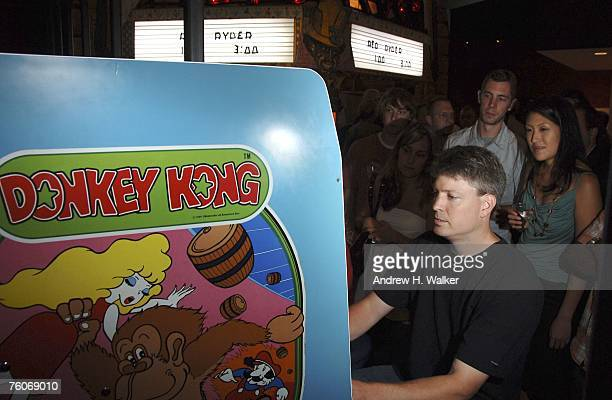 Steve Wiebe plays Donkey Kong after the screening of Picturehouse's 'The King of Kong A Fistful of Quarters' at the Museum of the Moving Image on...