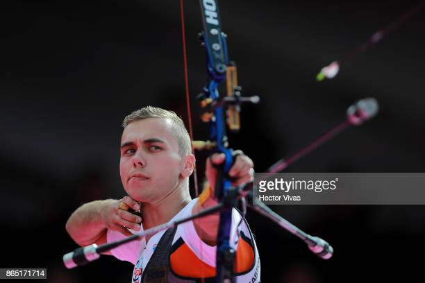 Steve Wijler of Netherlands lines up an arrow during the Bronze Recurve Men Competition as part of the Mexico City 2017 World Archery Championships...