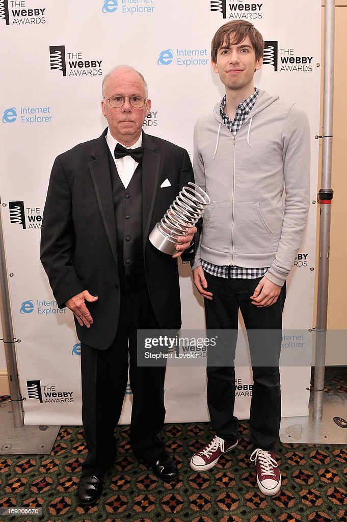 Steve Wilhite and <a gi-track='captionPersonalityLinkClicked' href=/galleries/search?phrase=David+Karp&family=editorial&specificpeople=6603515 ng-click='$event.stopPropagation()'>David Karp</a> pose with an award at the 17th Annual Webby Awards at Cipriani Wall Street on May 21, 2013 in New York City.