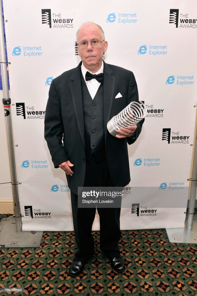 Steve Wilhite, inventor of the GIF file, poses with an award backstage at the 17th Annual Webby Awards at Cipriani Wall Street on May 21, 2013 in New York City.