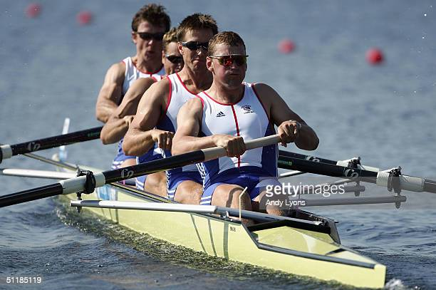 Steve Williams James Cracknell Ed Coode and Matthew Pinsent of Great Britain compete in the men's four semifinal on August 18 2004 during the Athens...