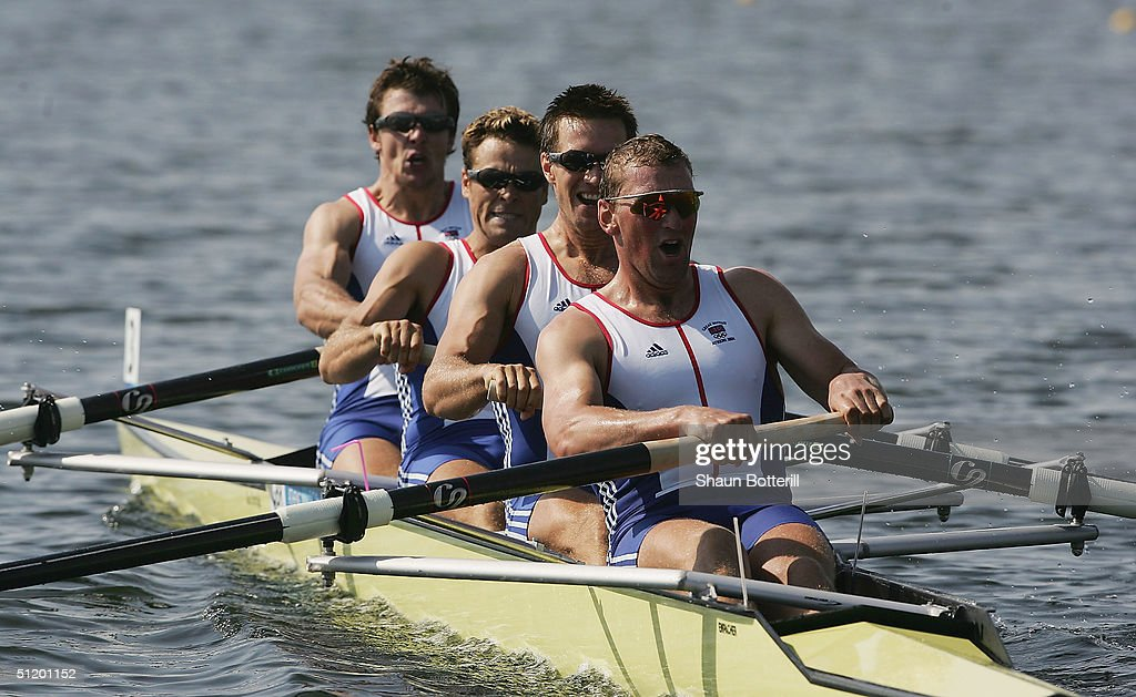 Steve Williams, James Cracknell, Ed Coode and Matthew Pinsent of Great Britain compete in the men's four rowing final on August 21, 2004 during the Athens 2004 Summer Olympic Games at the Schinias Olympic Rowing and Canoeing Centre in Athens, Greece.