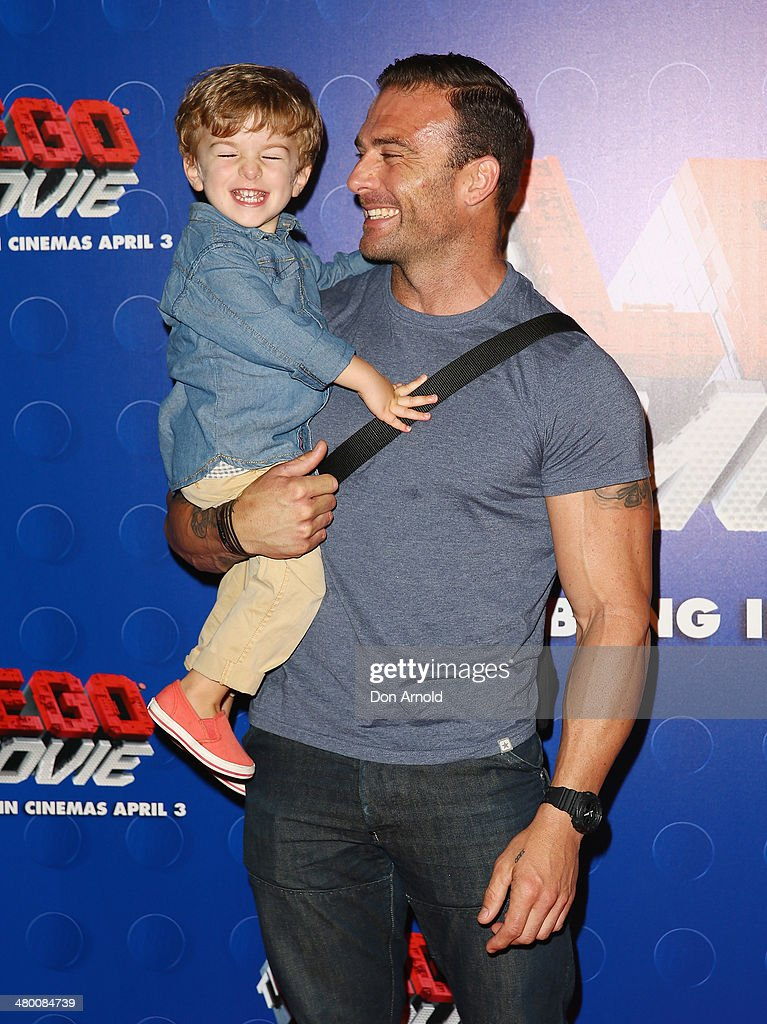 Steve Willis and son Jack Willis attend the Sydney premiere of The LEGO Movie at Event Cinemas on March 23, 2014 in Sydney, Australia.