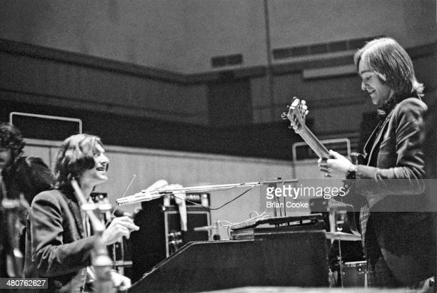 Steve Winwood and Dave Mason of Traffic rehearsing at The Fairfield Hall Croydon South London in preparation for a recorded concert for their Welcome...