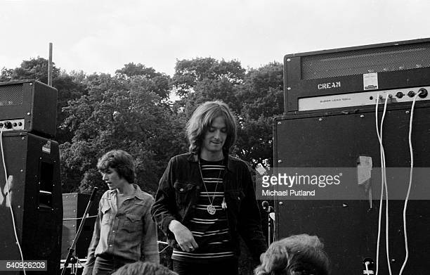 Steve Winwood and Eric Clapton during their time as Blind Faith They are leaving the stage after the free Hyde park concert London 7th June 1969