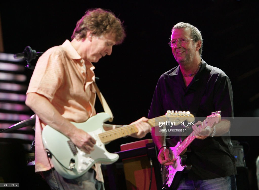 Steve Winwood and Eric Clapton perform at Eric Clapton's Crossroads Guitar Festival 2007 held at Toyota Park on July 28, 2007 in Bridgeview, Illinois.