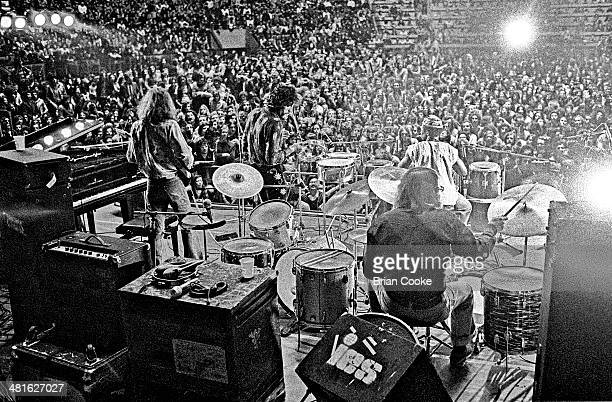 Steve Winwood Jim Capaldi Roger Hawkins and Reebop Kwaku Baah on stage with Traffic at the Palazzo dello Sport in Rome on March 29 1973