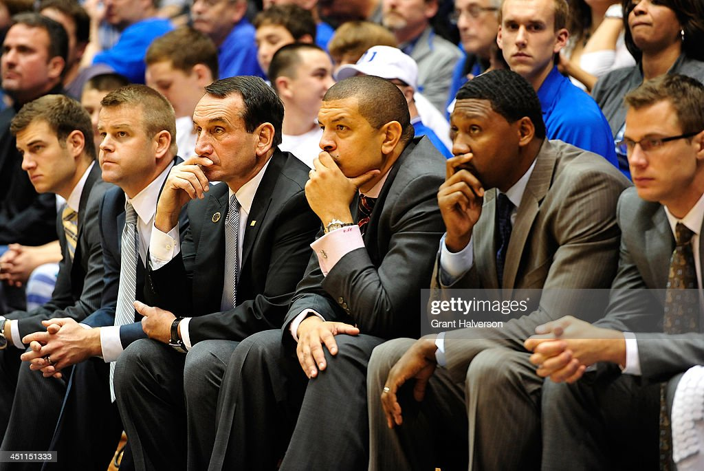 Steve Wojciechowski, <a gi-track='captionPersonalityLinkClicked' href=/galleries/search?phrase=Mike+Krzyzewski&family=editorial&specificpeople=213322 ng-click='$event.stopPropagation()'>Mike Krzyzewski</a>, Jeff Capel, Nate James and <a gi-track='captionPersonalityLinkClicked' href=/galleries/search?phrase=Jon+Scheyer&family=editorial&specificpeople=3847405 ng-click='$event.stopPropagation()'>Jon Scheyer</a> of the Duke Blue Devils coaching staff watch during a game against the Florida Atlantic Owls at Cameron Indoor Stadium on November 15, 2013 in Durham, North Carolina. Duke won 97-64.
