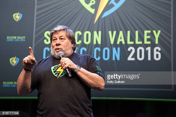 Steve Wozniak addresses the crowd during the closing panel of the Silicon Valley Comic Con on March 20 2016 in San Jose California