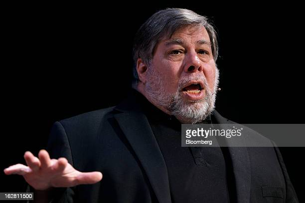 Steve Wozniak cofounder of Apple Inc and chief scientist of Fusionio Inc speaks during a news conference in Tokyo Japan on Thursday Feb 28 2013...