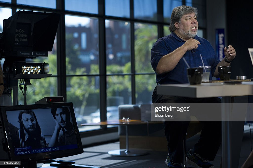 Steve Wozniak, co-founder of Apple Inc., speaks during a Bloomberg West Television interview in San Francisco, California, U.S., on Friday, Aug. 16, 2013. Wozniak talked about Apple co-founder Steve Jobs and the movie 'Jobs.' Photographer: David Paul Morris/Bloomberg via Getty Images