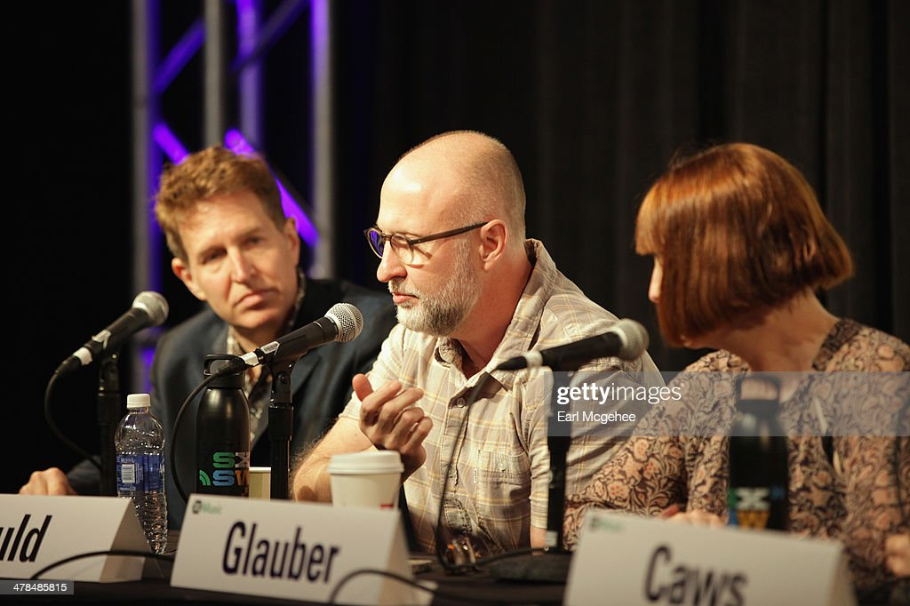Steve Wynn of The Baseball Project, musician Bob Mould and Karen Glauber, President of Hits Magazine speak onstage at Warehouse: Songs and Stories during the 2014 SXSW Music, Film + Interactive at Austin Convention Center on March 13, 2014 in Austin, Texas.