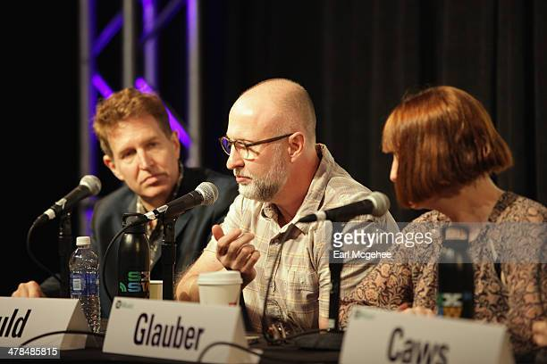 Steve Wynn of The Baseball Project musician Bob Mould and Karen Glauber President of Hits Magazine speak onstage at Warehouse Songs and Stories...