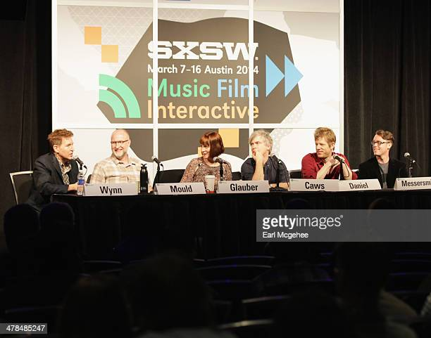 Steve Wynn of The Baseball Project musician Bob Mould Karen Glauber President of Hits Magazine and musicians Matthew Caws Britt Daniel and Jeremy...