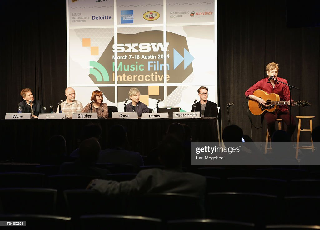 Steve Wynn of The Baseball Project, musician Bob Mould, Karen Glauber, President of Hits Magazine and musicians Matthew Caws, Jeremy Messersmith and Brit Daniel speak onstage at Warehouse: Songs and Stories during the 2014 SXSW Music, Film + Interactive at Austin Convention Center on March 13, 2014 in Austin, Texas.