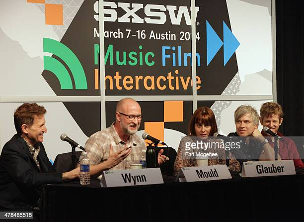 Steve Wynn of The Baseball Project musician Bob Mould Karen Glauber President of Hits Magazine and musicians Matthew Caws and Britt Daniel speak...