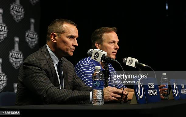 Steve Yzerman and John Cooper both of the Tampa Bay Lightning talk to the press during Media Day for the 2015 Stanley Cup Final at Amalie Arena on...