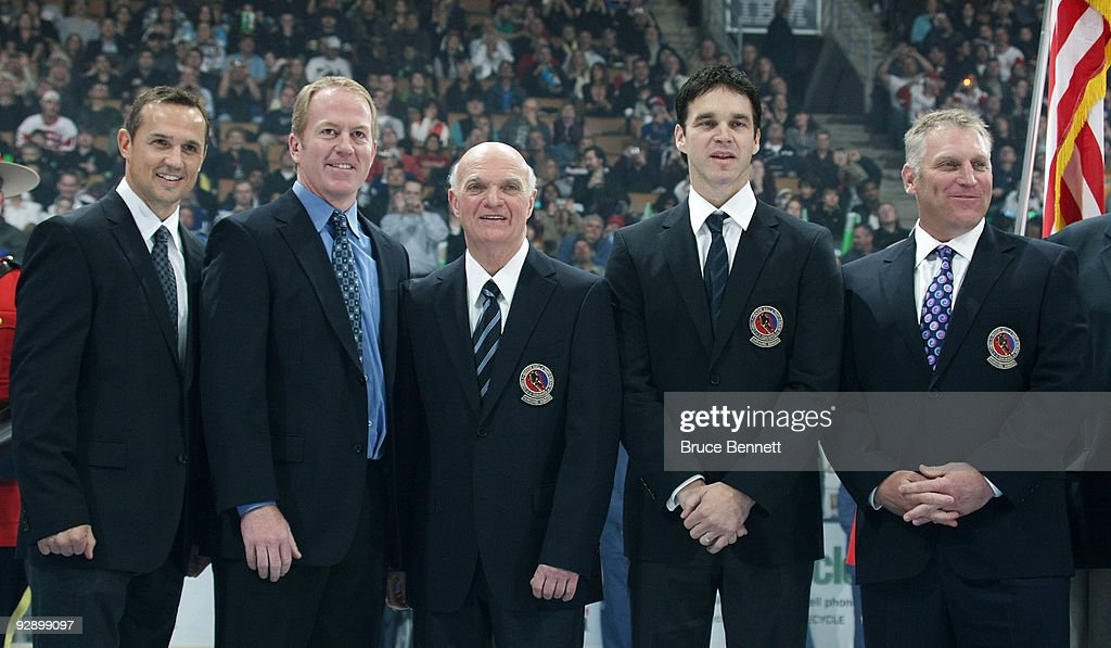 Steve Yzerman Brian Leetch Lou Lamoriello Luc Robitaille and Brett Hull receive their Hall of Fame jackets at the Hockey Hall of Fame Legends Game at...