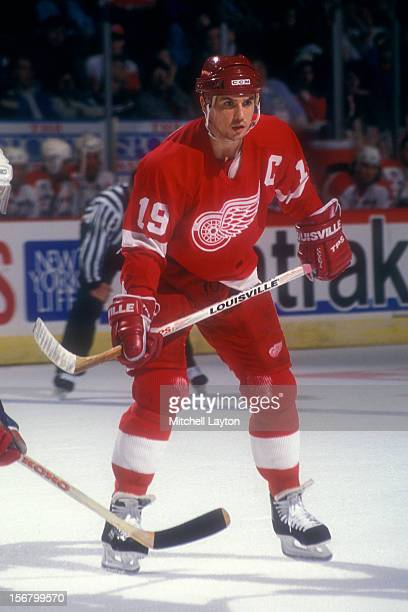 Steve Yzerman of the Detroit Red Wings in position during a hockey game against the Washington Capitals on January 30 1994 at the USAir Arena in...