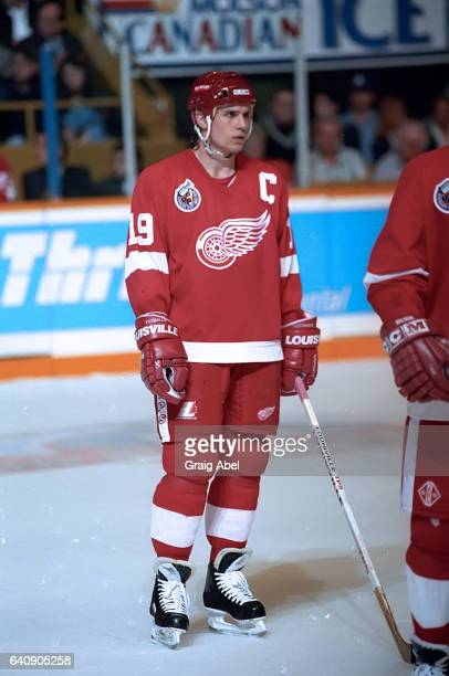 Steve Yzerman of the Detroit Red Wings prepares for the faceoff against the Toronto Maple Leafs during game action on April 23 1993 at Maple Leaf...