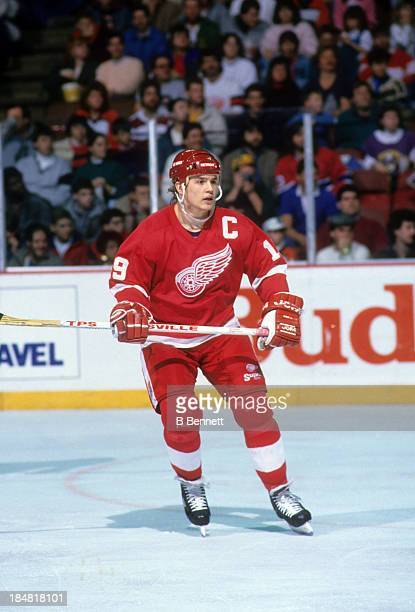 Steve Yzerman of the Detroit Red Wings skates on the ice during an NHL game in December 1988