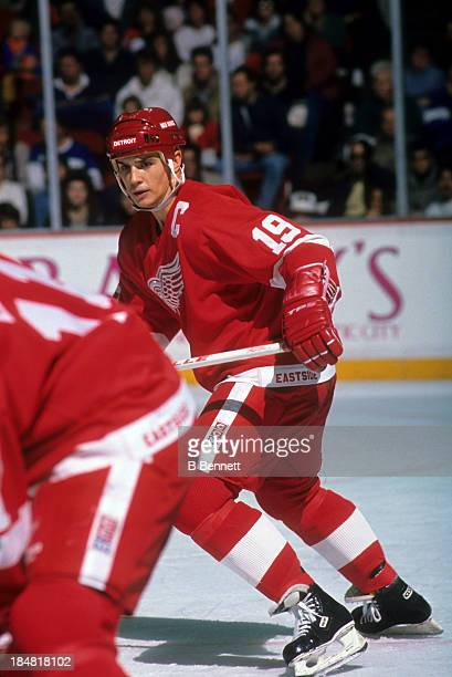 Steve Yzerman of the Detroit Red Wings skates on the ice during an NHL game circa 1989