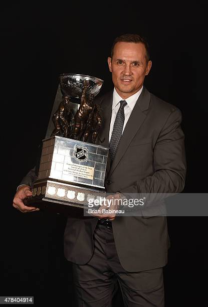 Steve Yzerman of the Tampa Bay Lightning poses with the GM of the Year Award during the 2015 NHL Awards at the MGM Grand Garden Arena on June 24 2015...