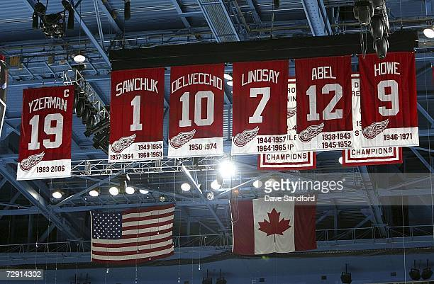 Steve Yzerman's number 19 hangs from the rafters along with the other retired numbers from the Detroit Red Wings organization during their NHL game...