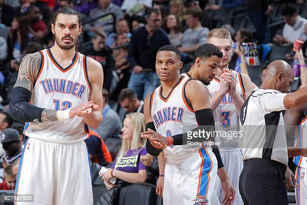 Steven Adams and Russell Westbrook of the Oklahoma City Thunder look on during the game against the Sacramento Kings on November 23 2016 at Golden 1...
