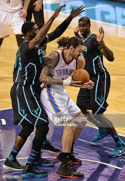 Steven Adams of Oklahoma City Thunder in action during the NBA match between Oklahoma City Thunder vs Charlotte Hornets at the Spectrum arena in...