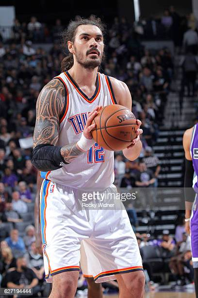 Steven Adams of the Oklahoma City Thunder attempts a free throw shot against the Sacramento Kings on November 23 2016 at Golden 1 Center in...