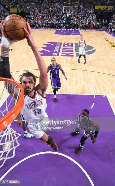Steven Adams of the Oklahoma City Thunder dunks against the Sacramento Kings on November 23 2016 at Golden 1 Center in Sacramento California NOTE TO...