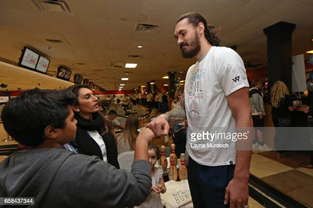 Steven Adams of the Oklahoma City Thunder interacts with fans during Russell Westbrook's 7th annual Why Not Foundation bowling event on March 24 2017...