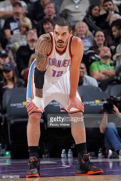 Steven Adams of the Oklahoma City Thunder looks on during the game against the Sacramento Kings on November 23 2016 at Golden 1 Center in Sacramento...
