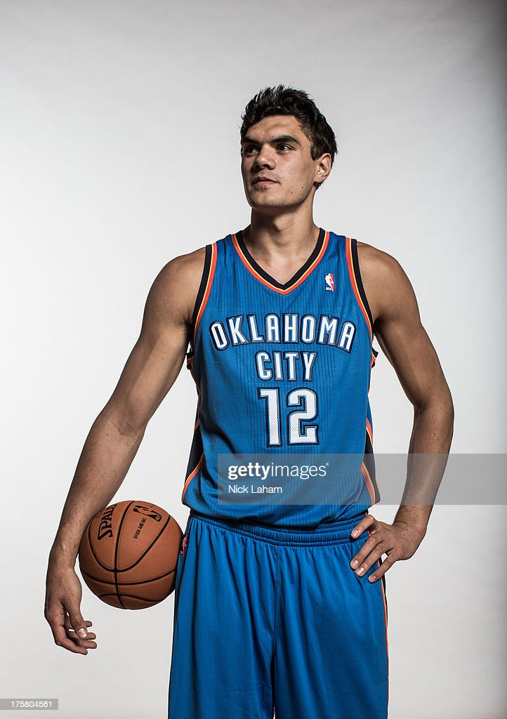 Steven Adams #12 of the Oklahoma City Thunder poses for a portrait during the 2013 NBA rookie photo shoot at the MSG Training Center on August 6, 2013 in Greenburgh, New York.