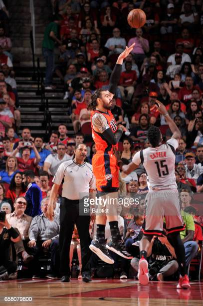 Steven Adams of the Oklahoma City Thunder shoots the ball against the Houston Rockets during the game on March 26 2017 at the Toyota Center in...