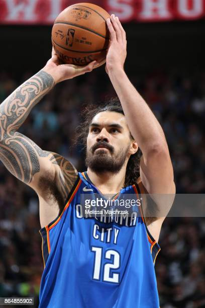 Steven Adams of the Oklahoma City Thunder shoots the ball against the Utah Jazz during the game on October 21 2017 at vivintSmartHome Arena in Salt...