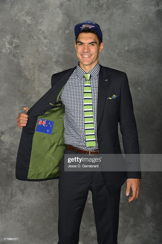 Steven Adams poses for a portrait after being selected number 12th overall by the Oklahoma City Thunder during the 2013 NBA Draft at the Barclays Center on June 27, 2013 in Brooklyn, New York.