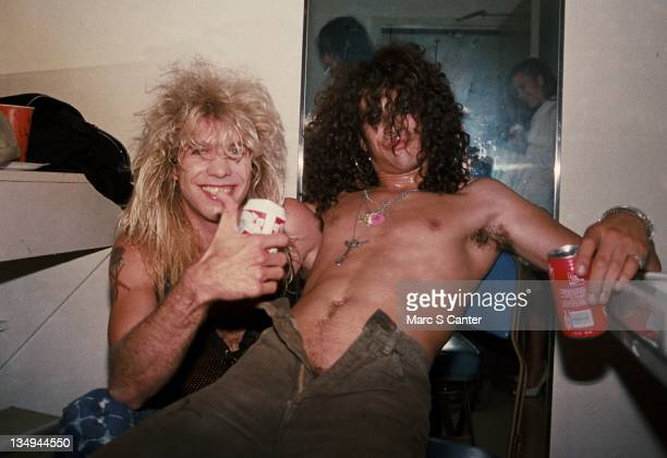 Steven Adler and Slashn of the rock group 'Guns n' Roses' backstage at the Santa Monica Civic Auditorium after opening for Ted Nugent on August 30...