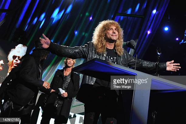 Steven Adler of Guns N' Roses speaks on stage during the 27th Annual Rock And Roll Hall Of Fame Induction Ceremony at Public Hall on April 14 2012 in...