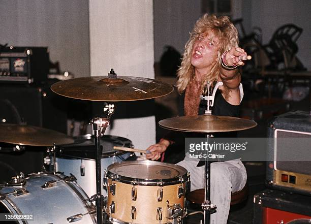 Steven Adler of the rock band 'Guns n' Roses' performs onstage at a UCLA frat party where they played 'Welcome To The Jungle' for the second time for...
