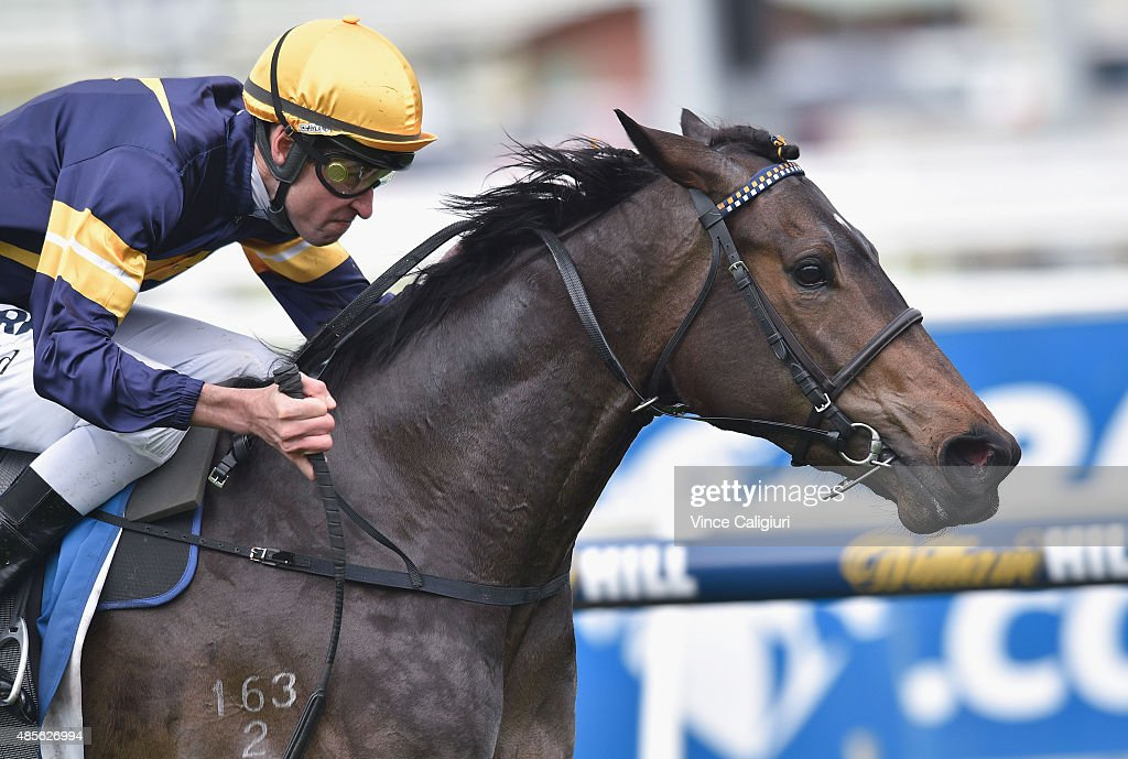 Steven Arnold riding Alaskan Rose wins Race 2 during Melbourne racing at Caulfield racecource on August 29, 2015 in Melbourne, Australia.