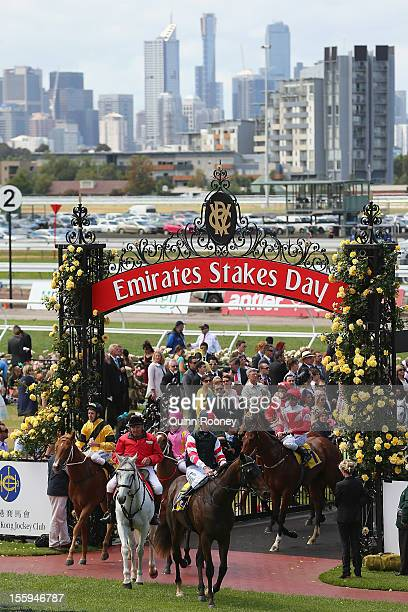 Steven Arnold riding Direct Charge returns to scale after winning the Hong Kong Jockey Club Maribynong Plate during 2012 Emirates Stakes Day at...