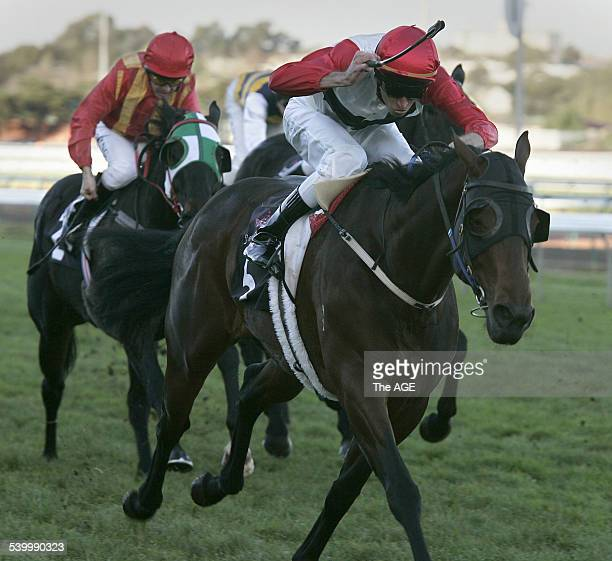 Steven Arnold wins Race 7 at Flemington on the Danny O'Brientrained Threedee on 20th May 2006 THE AGE SPORT Picture by KEN IRWIN