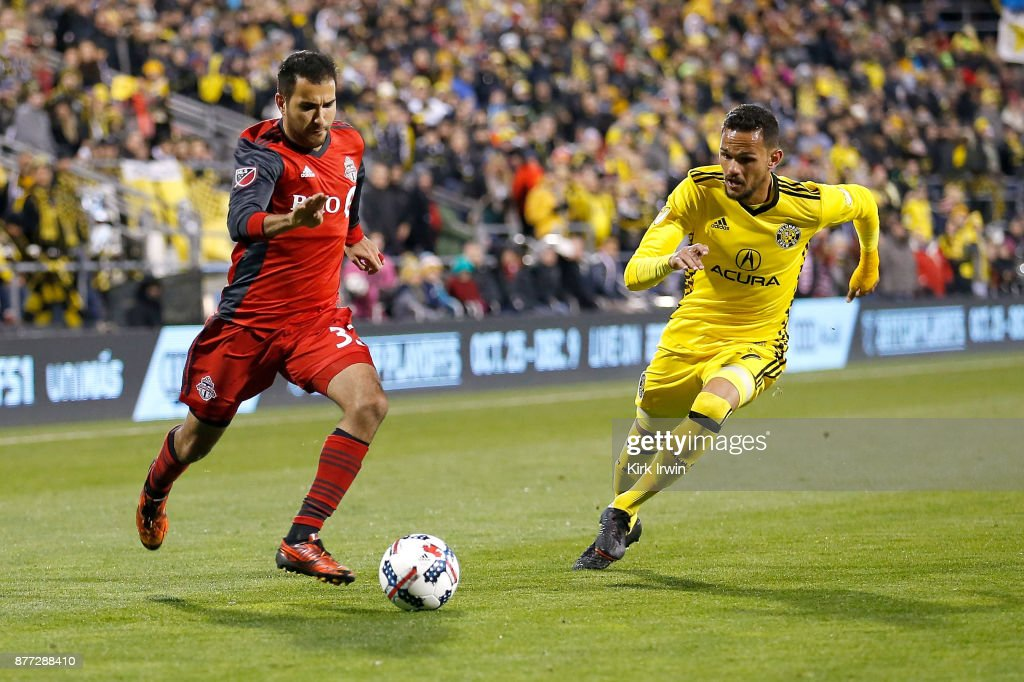 Steven Beitashour #33 of the Toronto FC and Artur #7 of the Columbus Crew SC chase after the ball during the second half at MAPFRE Stadium on November 21, 2017 in Columbus, Ohio. Columbus tied Toronto 0-0.