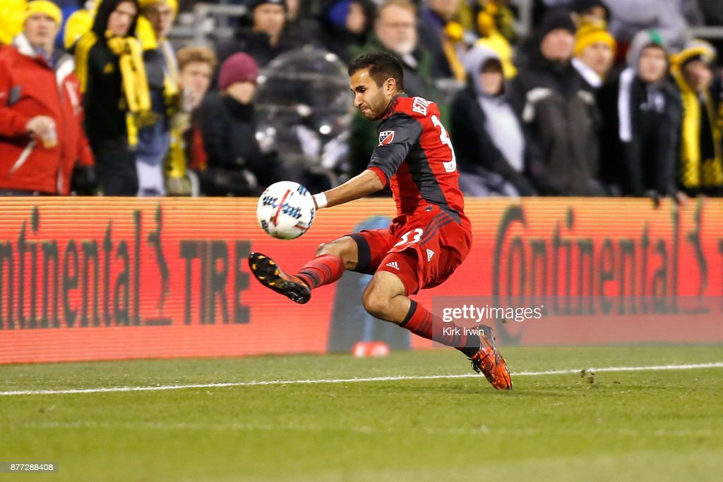 Steven Beitashour #33 of the Toronto FC attempts to keep the ball in bounds during the second half of the match against the Columbus Crew SC at MAPFRE Stadium on November 21, 2017 in Columbus, Ohio. Columbus tied Toronto 0-0.