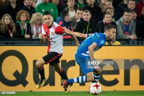Steven Berghuis of Feyenoord Bram van Polen of PEC Zwolle during the Dutch Eredivisie match between Feyenoord Rotterdam and PEC Zwolle at the Kuip on...
