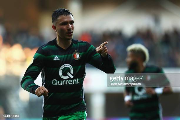 Steven Berghuis of Feyenoord celebrates scoring his teams first goal of the game during the Dutch Eredivisie match between Heracles Almelo and...